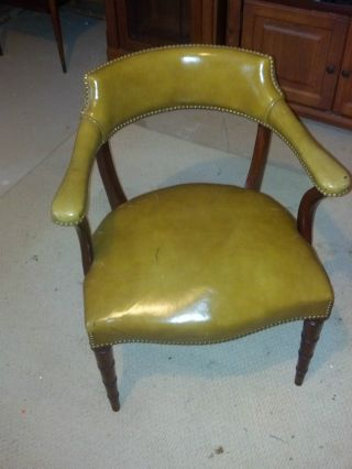 Hickory Chair Single Green Leather Library Armchair Vintage American Furniture photo