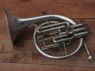 1911 Antique Vintage Buescher French Horn Made In Usa photo