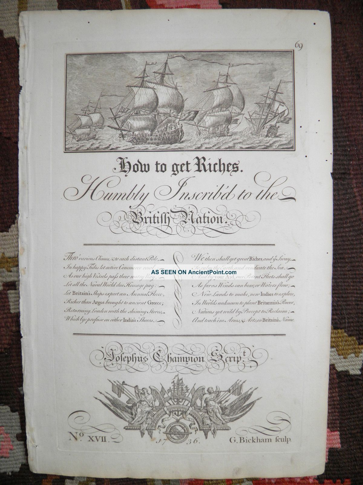 Outstanding 1736 Maritime Broadside By Great Brit.  Engraver George Bickham Other photo
