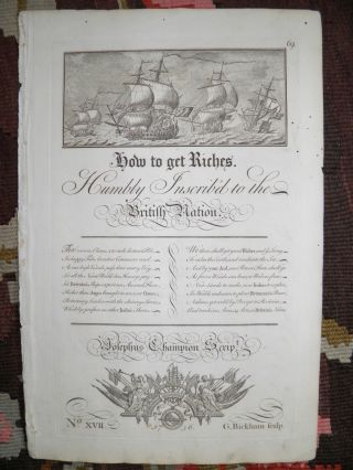 Outstanding 1736 Maritime Broadside By Great Brit.  Engraver George Bickham photo