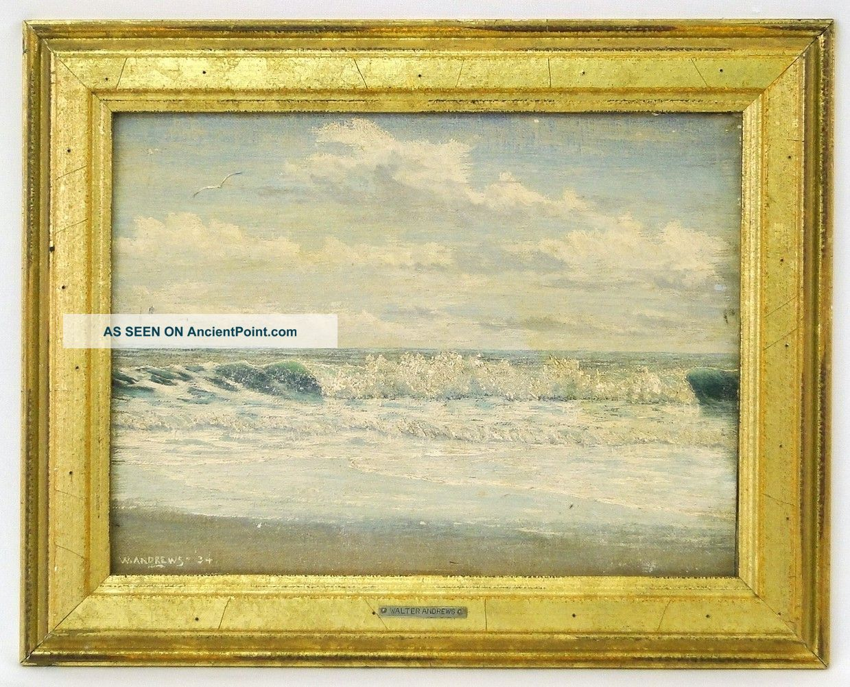 Walter Andrews Pennsylvania Artist Nautical Seascape Painting Gold Gilt Frame Other photo