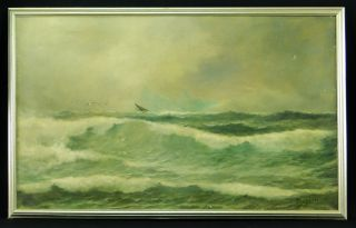 Henry Duessel 19c.  New York Artist Impressionist Seascape Nautical Painting photo