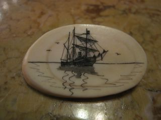 Vintage Antique Signed Faux Ivory Scrimshaw Pin W/ Ship photo