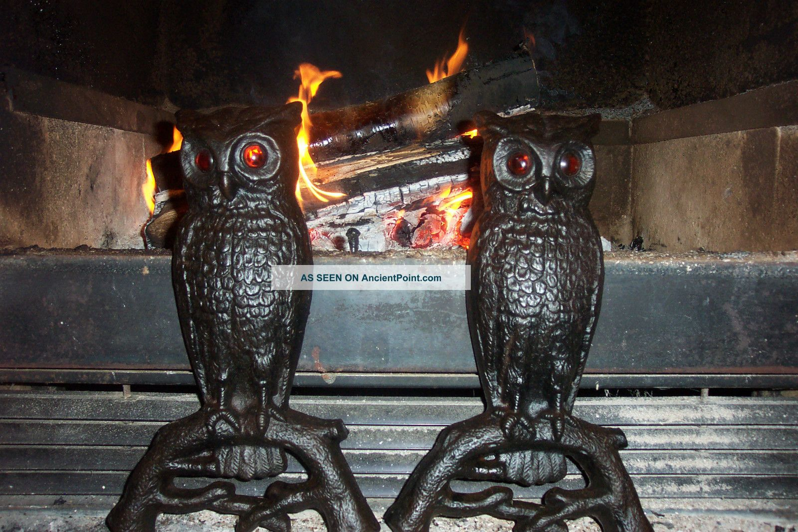 Vintage & Antique Cast Iron Owl Andirons With Glowing Eyes 407e Hearth Ware photo