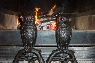 Vintage & Antique Cast Iron Owl Andirons With Glowing Eyes 407e photo