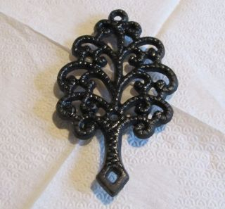 Vintage Cast Iron Metal Tree Trivet Mt - 3 Collectible Or For Kitchen Use photo
