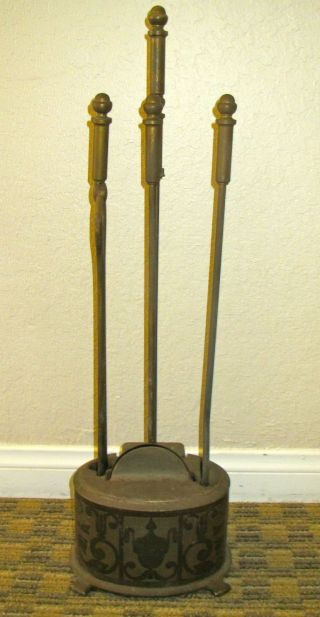 Vintage Brass 4 Piece Fireplace Tools Hearth Set Shovel Tongs Poker Broom  photo