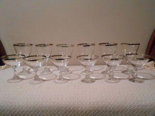 Vintage Fostoria Crystal Silver Rim Wine Glasses - 12 Pc - Fab Mid Century Design photo