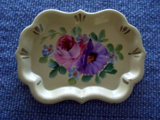 Vintage Hand Painted Tole Pink & Purple Roses Toleware Tray photo