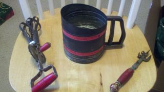 Antique Flour Sifter,  And Mixer,  And Can Opener photo