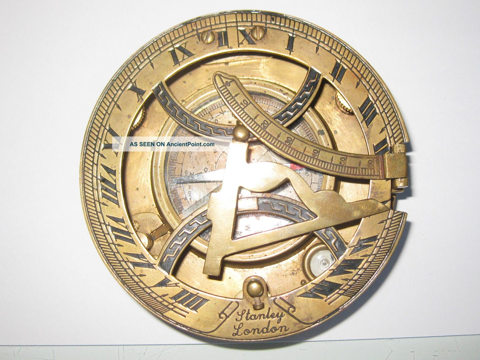 Nautical Brass Finish Stanley London Sundial Compass photo