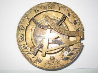 Nautical Brass Finish Stanley London Sundial Compass photo