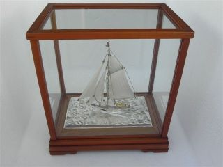 Finest Masterly Hand Crafted Japanese Sterling Silver Model Ship Yacht Japan Nr photo