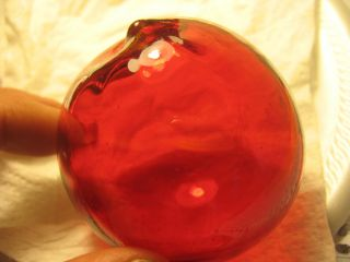 Red Japanese Glass Ball Fishing Float Rare Color photo