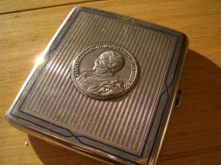 Silver Continental Medal Set Cigarette Case Enamelled Boarder photo