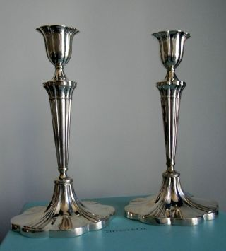 Pair Tall Exquisite Tiffany Art Nouveau Sterling Fluted Candlesticks & Box photo