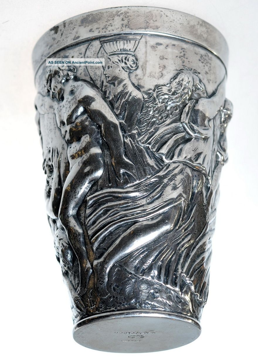 """Antique German Hand Embossed Silver 4½""""h Wine Beaker Cup By Th.  Heiden Munich Germany photo"""