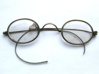Victorian - Pair Of White & Gold Metal Framed Crystal Glass Spectacles - Circa 1900 photo