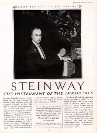 Fp 1925 Steinway Piano Concert Music Instrument Levitzki photo