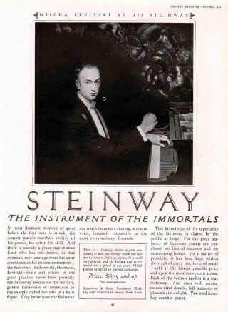Fp 1925 Stienway Piano Mischa Levitzki Portrait Theatre Ad photo