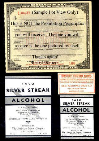 1933 Spirits Prohibition Alcohol Prescription photo