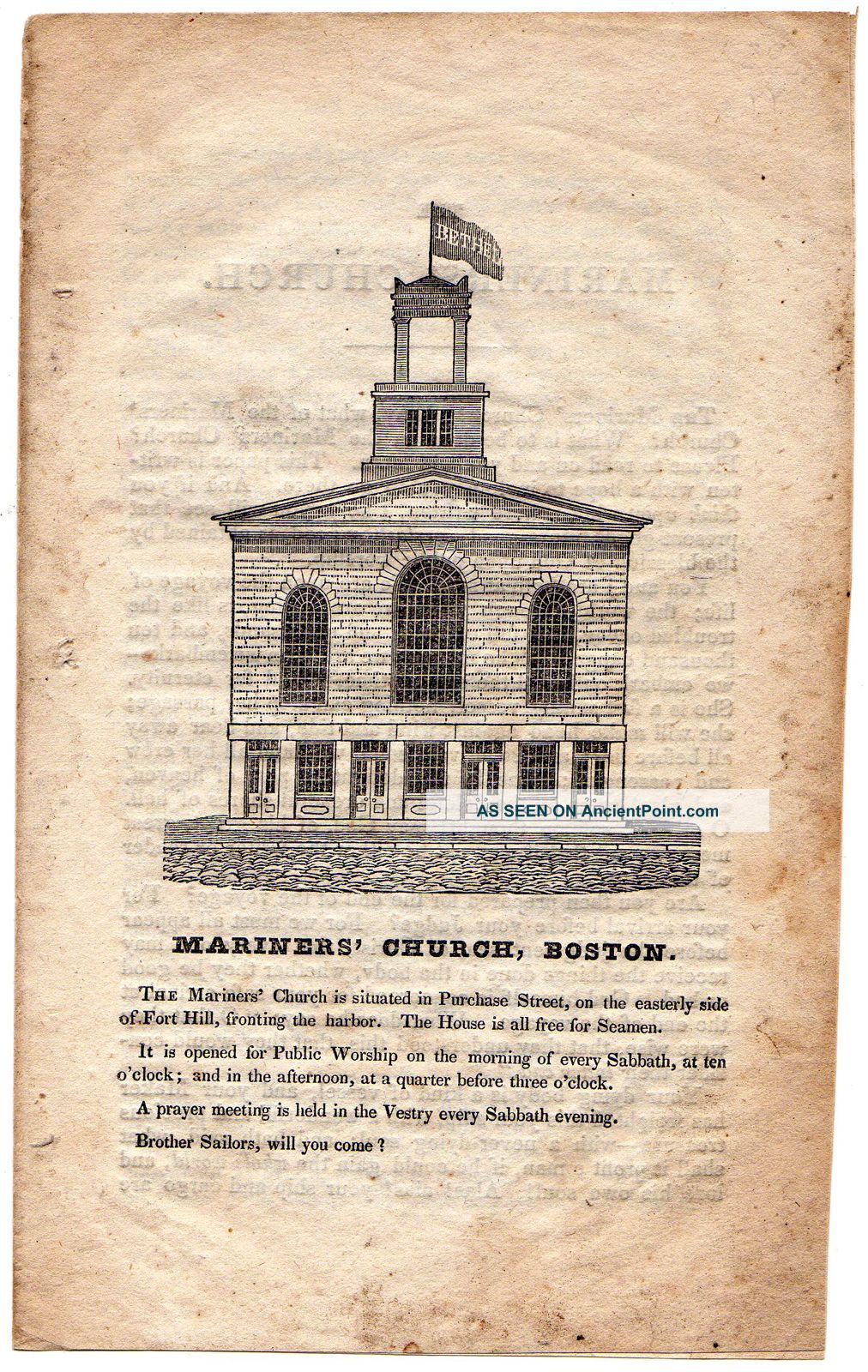 Antique Pamphlet Of Mariners ' Church Boston/circa 1840 American photo