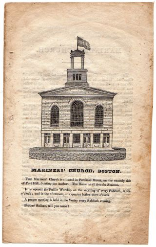 Antique Pamphlet Of Mariners ' Church Boston/circa 1840 photo