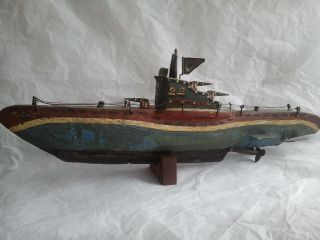 Antique 1914 - 18 Wwi Wooden Red - Blue - White Paint Folky War - Ship Germany photo