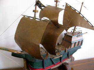 Vintage Ship Copper Sails & Rigging Solid Wood Large Antique 1920 ' S? Model Rare photo
