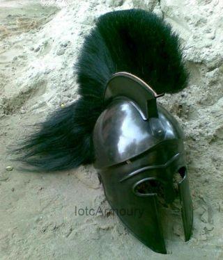 Greek Corinthian Armor Helmet W/plume - Collectible Greek Armor Helmet Replica photo