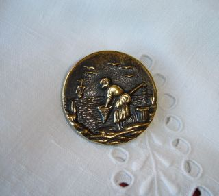 Rare Old Brass Picture Button - The Fisherwoman photo