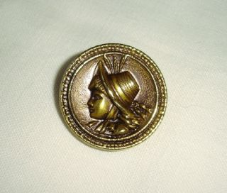 Old Brass Picture Button - Girl With A Straw Hat photo