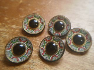Vintage Antique Black Glass Micro Mosaic Style Button Set photo