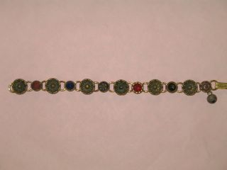 Antique Victorian Button Bracelet Victorian Jewels Brass Hand Crafted 7 1/2