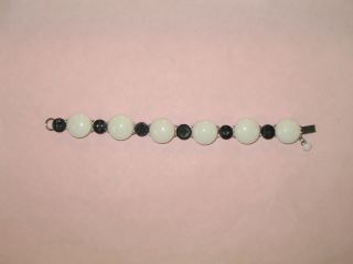 Antique Button Bracelet White China & Black Glass Buttons Hand Crafted 7 1/2