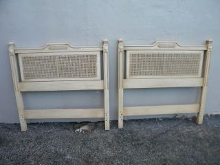 Pair Of French Caned Twin Size Headboards By Davis Cabinet 2803 photo