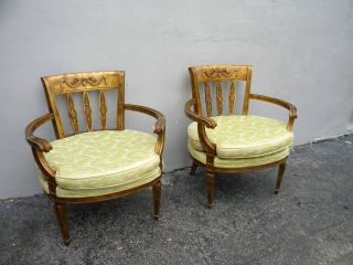 Pair Of French Antique Painted Living Room Side By Side Chairs 2781 photo