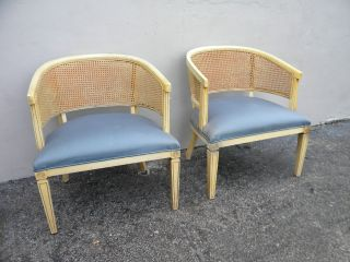 Pair Of Mid - Century Barrel Shape Caned Side By Side Chairs 2780 photo