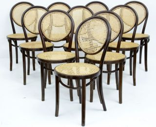 Set Of 10 Thonet Bentwood Style Dining Chairs photo
