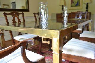 Vintage Italian Brass & Glass Greek Key Dining Table photo