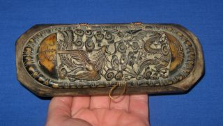 Antique 19thc Chinese Hand Carved Wood & Horn Dragon With Phoenix Apothecary Box photo