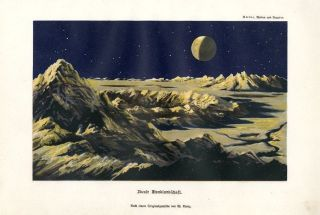 1890 The Moon Planet Astronomy Antique Lithograph Print C.  Sterne photo