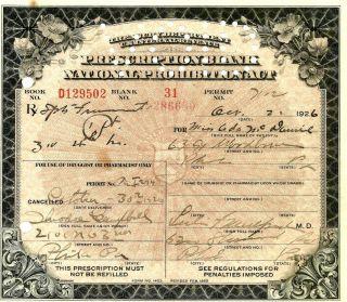 Antique Prohibition Whiskey Mcdaniel Prescription Pharmacy Bar Philadelphia Pa photo