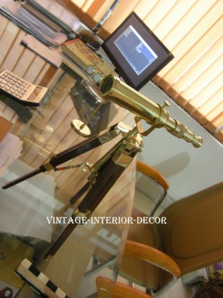 Nautical Home Decor Brass Telescope With Tripod Stand photo