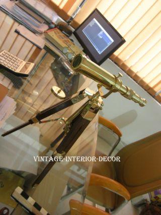 Nautical Home Decor Brass Telescope With Tripod Stand photo