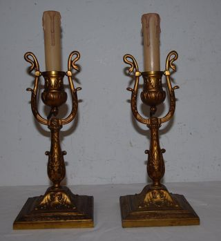 Gorgeous Pair Bronze 1 - Light Wall Sconces Or Table Lamp With Swan Detail photo