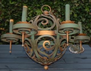 Unique Art Nouveau Wrought Iron Art Globe 6 - Light Chandelier photo