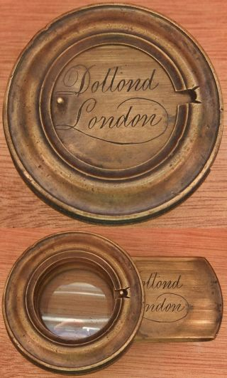 Antique Solid Brass Dollon London Telescope Cover Cap With Lens photo