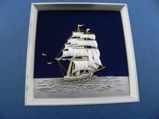 Finest Japanese Sterling Silver Clipper Ship In Relief By Takehiko Japan Nr photo