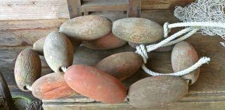 12 Vintage Cedar Floats Chippy Red Paint Salmon Fishing Fish Net Float Buoy Bouy photo